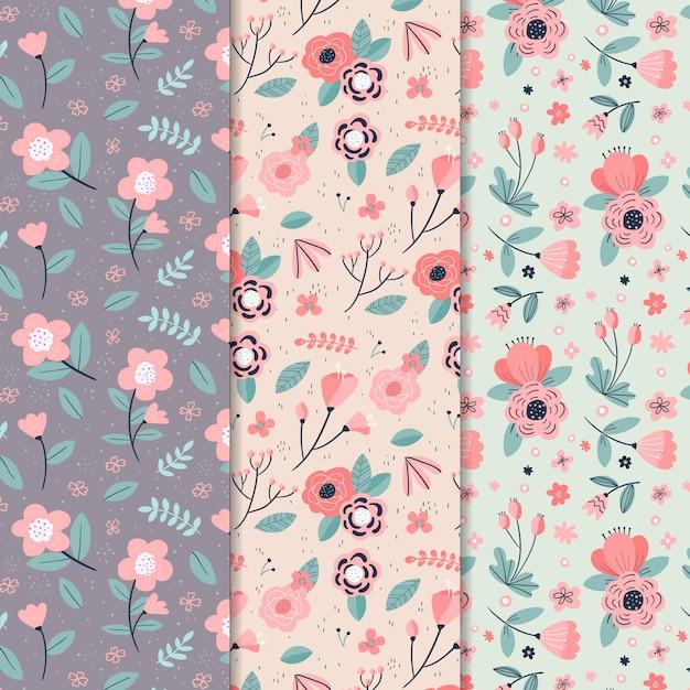 Concepto de colección de patrones de primavera dibujados a mano vector gratuito