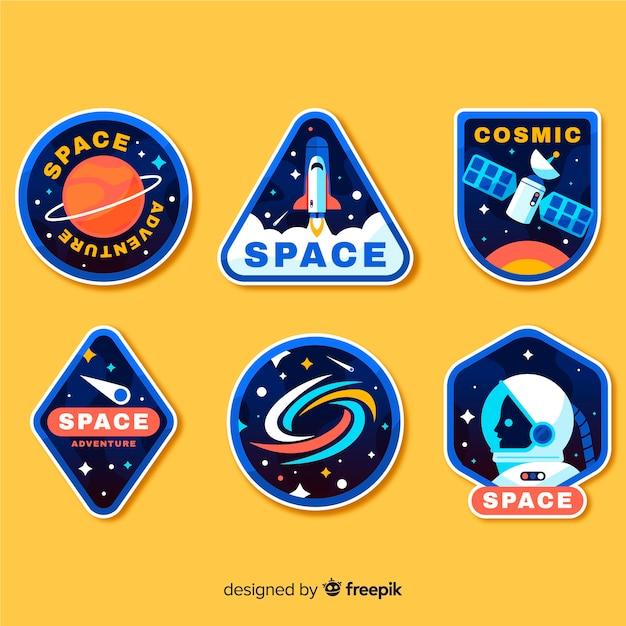 Concepto de colección de pegatinas de espacio cómico vector gratuito