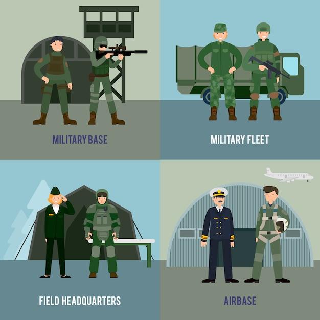 Concepto colorido cuadrado militar vector gratuito