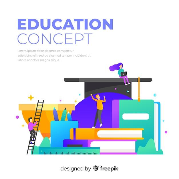 Concepto colorido de educación con diseño plano vector gratuito
