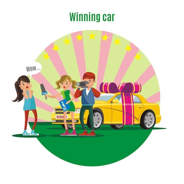 Concepto colorido del ganador de la lotería vector gratuito