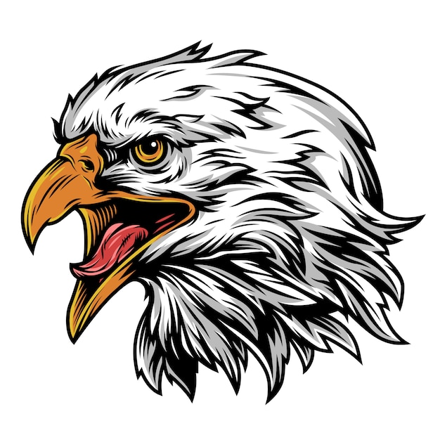 Concepto colorido de la mascota de la cabeza de águila vintage vector gratuito