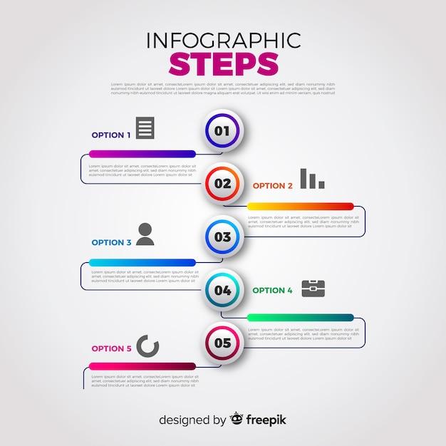 Concepto colorido de pasos infográficos gradientes vector gratuito