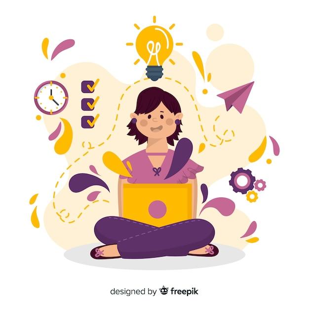 Concepto colorido de productividad dibujado a mano vector gratuito