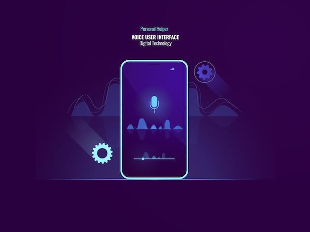 Concepto de comando de interfaz de usuario de voz impresionante, teléfono móvil con onda de sonido, ecualizador vector gratuito