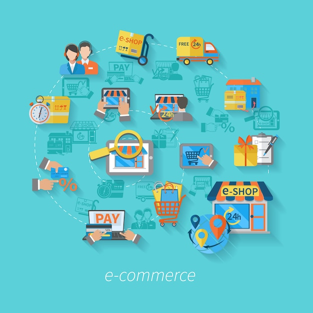 Concepto de comercio electrónico de compras con el servicio de venta al por menor en línea iconos de servicio al por menor ilustración vectorial plana vector gratuito