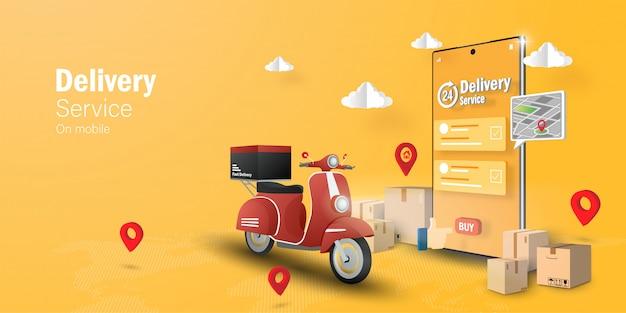 Concepto de comercio electrónico, servicio de entrega en aplicación móvil, transpotation o entrega de comida en scooter Vector Premium