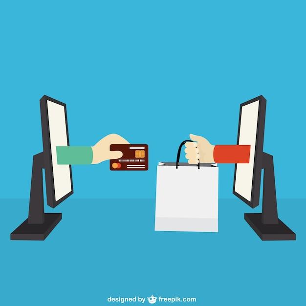 Concepto del comercio electrónico vector gratuito