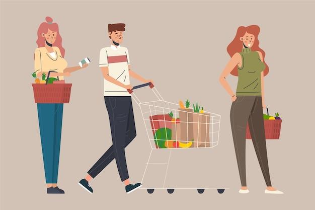 Concepto de comestibles de compras de personas vector gratuito