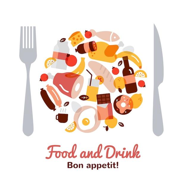 Concepto de comida y bebida en forma de placa con tenedor y cuchillo plana vector gratuito