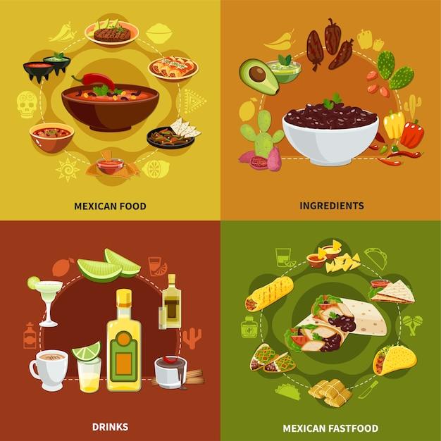 Concepto de comida mexicana con ingredientes para platos tradicionales, bocadillos y bocadillos nacionales, bebidas ilustración aislada Vector Premium