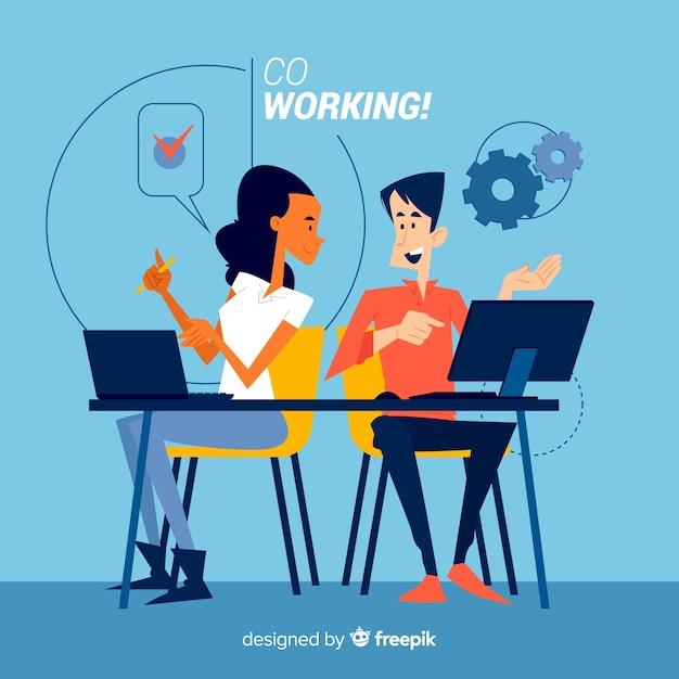 Concepto de compañeros de trabajo para la página de inicio vector gratuito