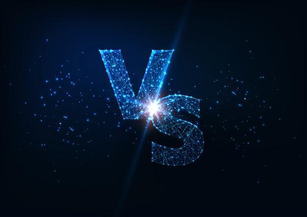 Concepto de competencia futurista con letras poligonales bajas brillantes vs sobre fondo azul oscuro. Vector Premium