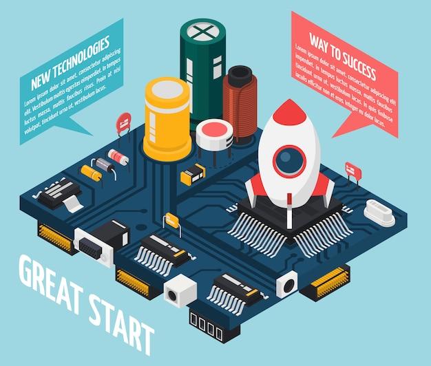 Concepto de componentes electrónicos de semiconductores vector gratuito