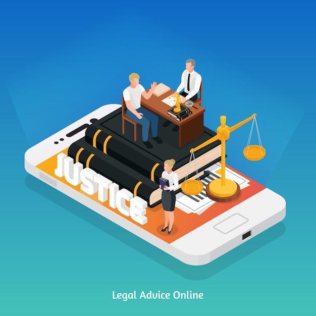 Concepto de composición isométrica de iconos de justicia de ley con teléfono y símbolos de justicia en la parte superior de su ilustración de vector de pantalla vector gratuito