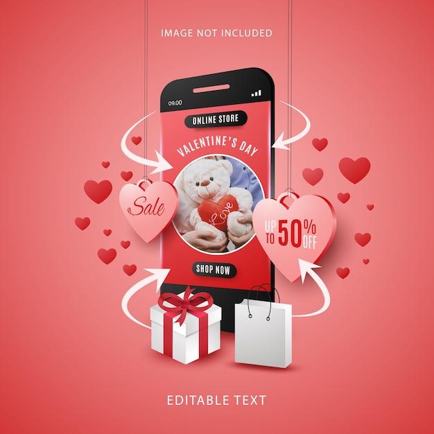 Concepto de compra en línea de venta de san valentín en dispositivos móviles con texto editable Vector Premium