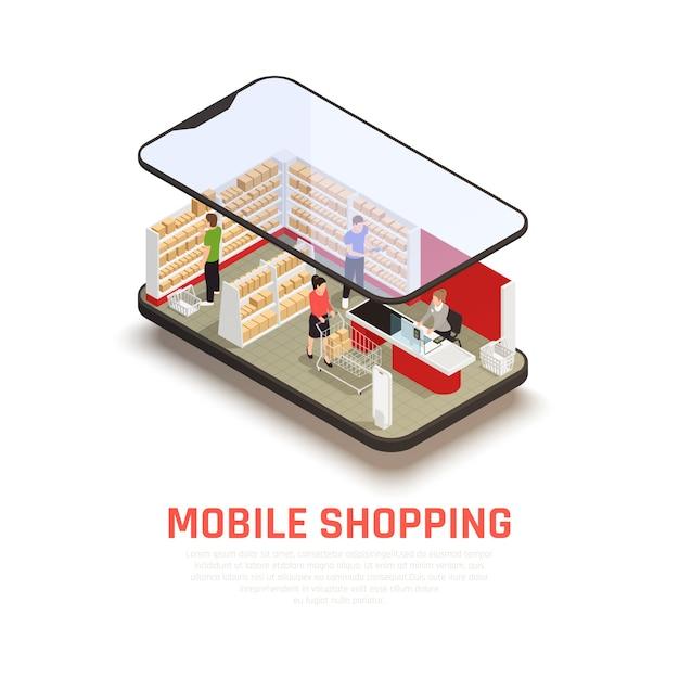Concepto de compra móvil con símbolos de comercio electrónico isométricos vector gratuito