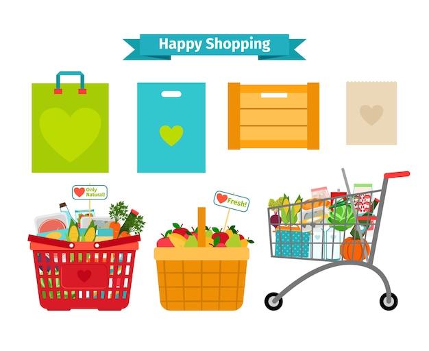 Concepto de compras feliz. solo alimentos frescos y naturales. nutrición natural, venta natural vector gratuito
