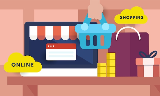 Concepto de compras en línea en la computadora portátil Vector Premium