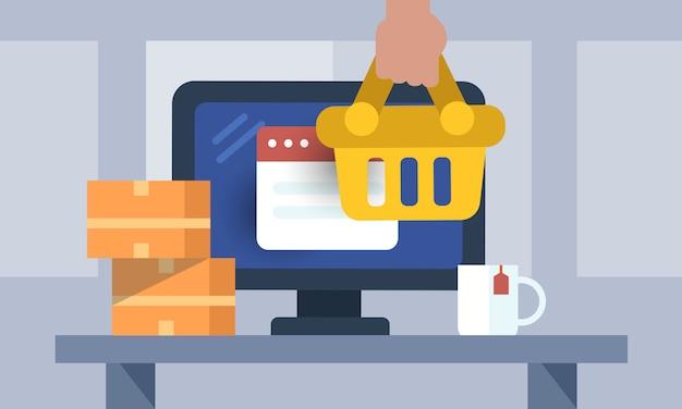 Concepto de compras en línea Vector Premium