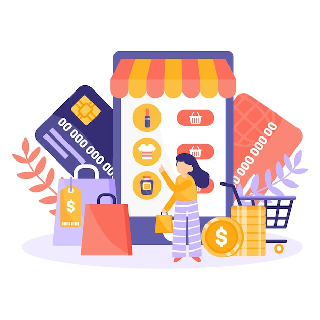 Concepto de compras online para landing page vector gratuito