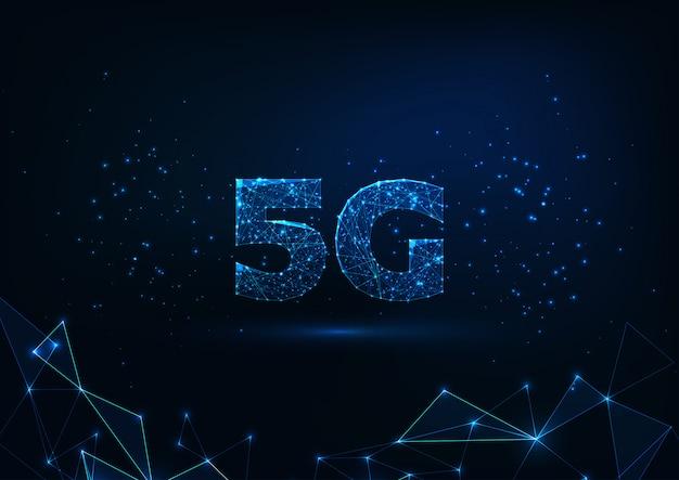 Concepto de conexión a internet 5g futurista baja poligonal brillante futurista sobre fondo azul oscuro. Vector Premium