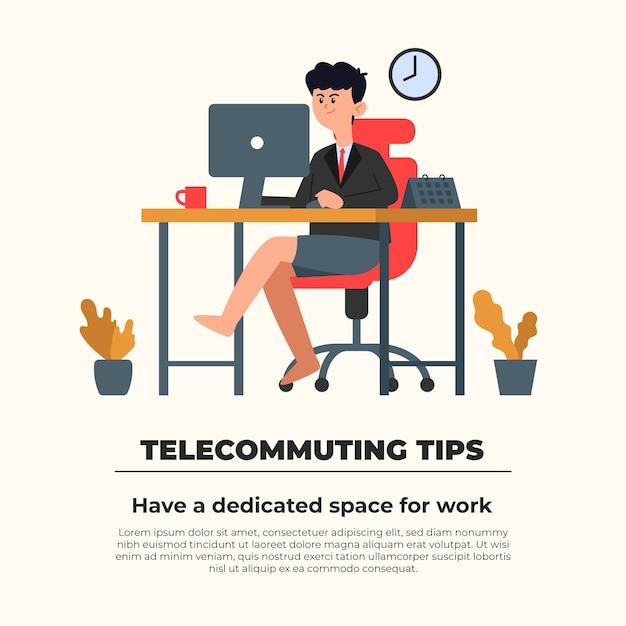 Concepto de consejos de teletrabajo vector gratuito