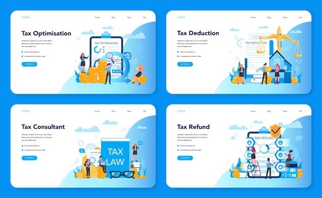 Concepto de consultor fiscal banner web o conjunto de página de destino. idea de contabilidad y pago. factura financiera. optimización, deducción y devolución de impuestos. Vector Premium