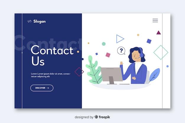 Concepto de contacto para landing page vector gratuito
