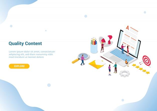 Concepto de contenido de alta calidad para plantilla de sitio web o página de inicio de aterrizaje Vector Premium