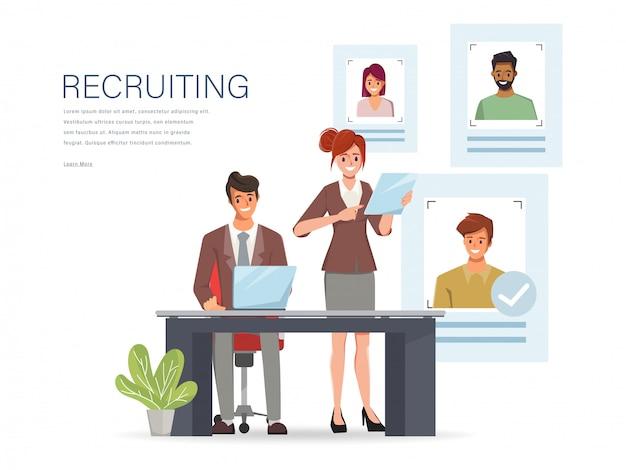 Concepto de contratación y reclutamiento en línea con carácter de gente de negocios. Vector Premium