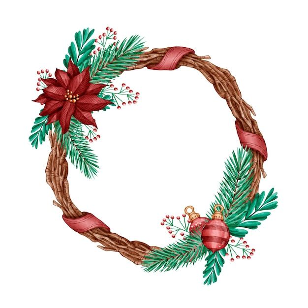 Concepto de corona de navidad acuarela vector gratuito