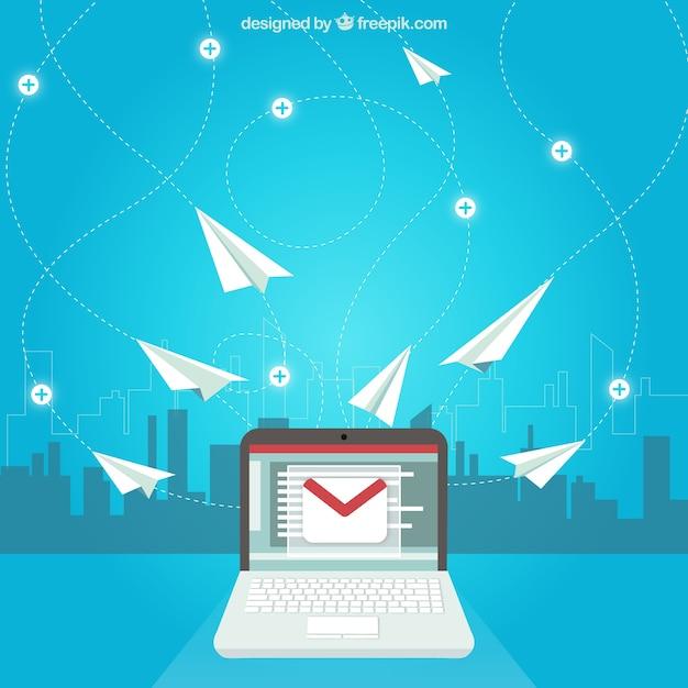 Concepto de correo electrónico con aviones de papel vector gratuito