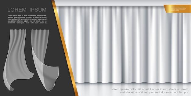 Concepto de cortinas blancas de escenario cerrado vector gratuito