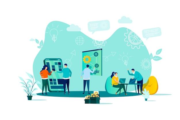 Concepto de coworking en estilo con personajes de personas en situación Vector Premium