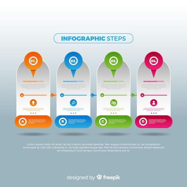Concepto creativo de pasos infográficos gradientes vector gratuito