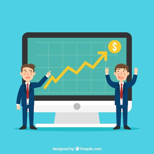 Concepto de crecimiento de negocios con ordenador vector gratuito