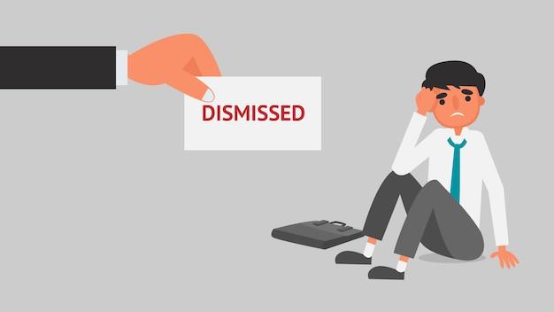 Concepto de crisis financiera de empresario. empleador dando aviso de despido a joven ilustración de negocios. plano | Vector Premium