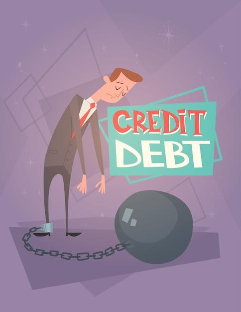 Concepto de la crisis de las finanzas de la deuda del crédito de las piernas de la cadena del hombre de negocios Vector Premium