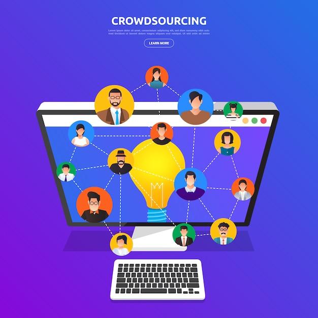 Concepto de crowdsourcing. ilustrar. Vector Premium