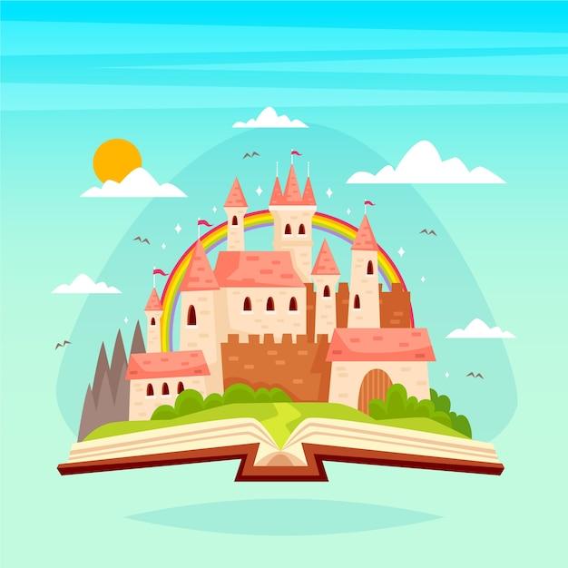 Concepto de cuento de hadas con castillo en un libro vector gratuito