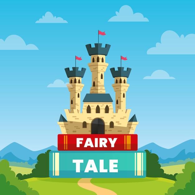 Concepto de cuento de hadas con castillo en libros vector gratuito