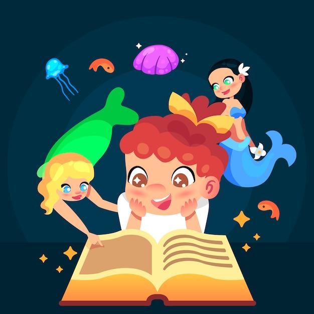 Concepto de cuento de hadas con lectura infantil vector gratuito