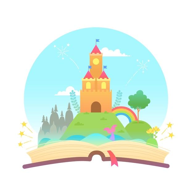 Concepto de cuento de hadas y libro vector gratuito