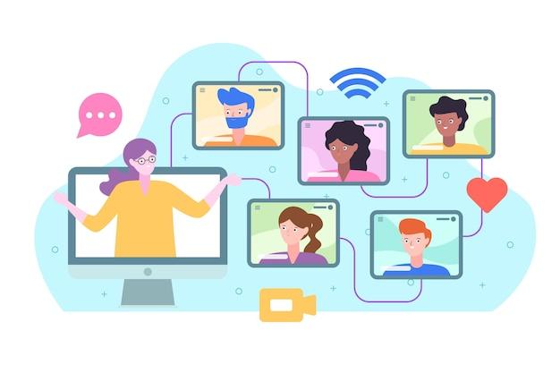 Concepto de cursos en línea vector gratuito
