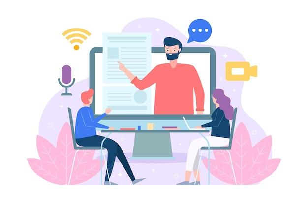 Concepto de cursos en línea Vector Premium