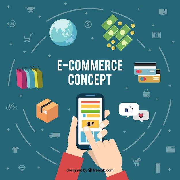Concepto de comercio online con smartphone Vector Gratis