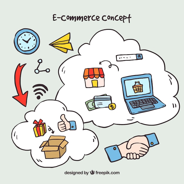 Concepto de compras online con estilo de dibujo a mano for Compra de vajillas online