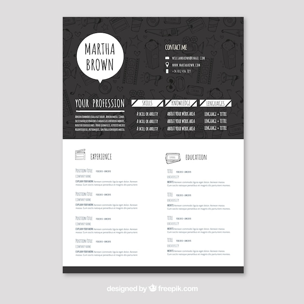 Concepto de curriculum blanco y negro | Descargar Vectores gratis