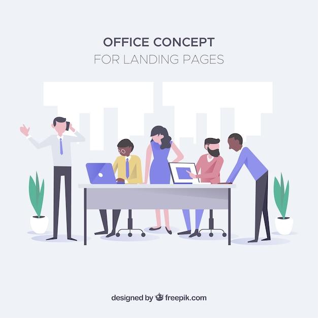 Concepto de oficina p gina de destino descargar vectores for Nociones basicas de oficina concepto